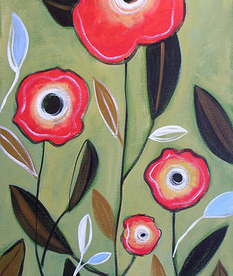 Abstract Leaves Painting - Little Garden by Amy Giacomelli