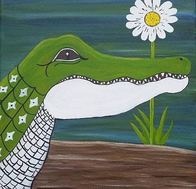 Louisiana Alligator Painting - Little Gator Girl by Connie Capone