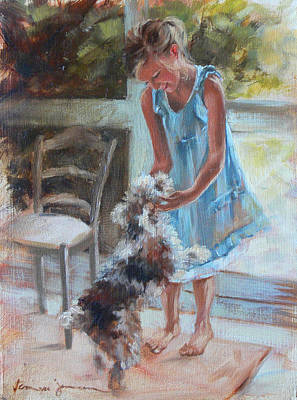 Painting - Little Girl And Dog by Tanya Jansen