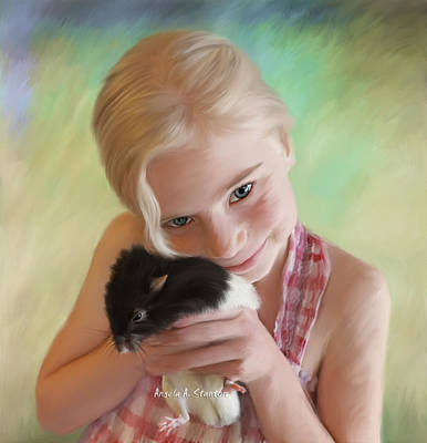 Little Girl And Pet Rat Art Print by Angela A Stanton