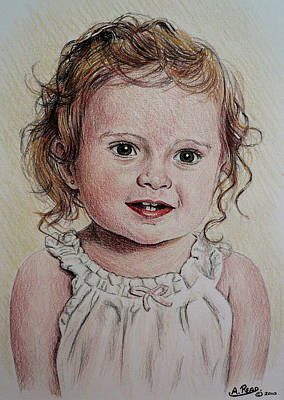 Person Drawing - Little Girl by Andrew Read