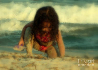 Art Print featuring the photograph Little Girl At The Beach by Lydia Holly