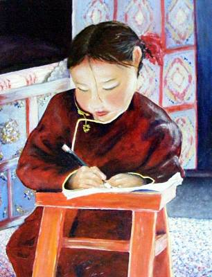 Homework Painting - Little Girl From Mongolia Doing Her Homework by Barbara Jacquin