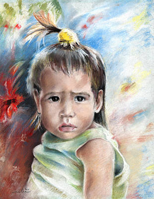 Painting - Little Girl From Tahiti by Miki De Goodaboom