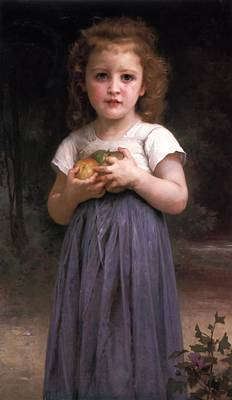 Music Figurative Potraits - Little girl holding apples in her hands by William Bouguereau