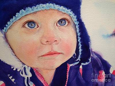 Painting - Little Girl In Snow by Kathy Flood