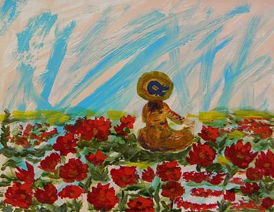 Lady In Red Drawing - Little Girl In The Poppies  by Mary Carol Williams