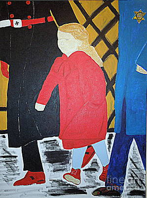 Little Jewish Girl In The Red Coat Art Print by Richard W Linford