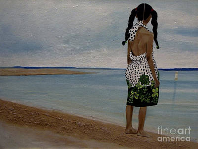 Painting - Little Girl On The Beach by Chelle Brantley