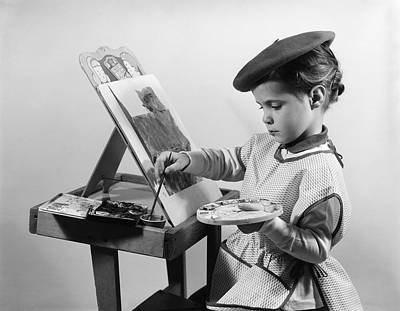 Beret Painting - Little Girl Painting, C.1960s by H. Armstrong Roberts/ClassicStock