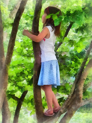 Climb Photograph - Little Girl Playing In Tree by Susan Savad