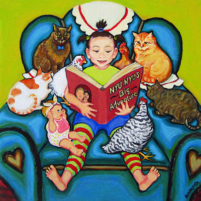 Painting - Little Girl Reading To Doll Cats Chickens by Rebecca Korpita