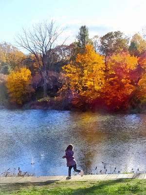 Photograph - Little Girl Skipping Rocks by Susan Savad