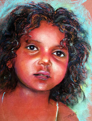 Realistic Pastel Painting - Little Girl With Black Curls by Arti Chauhan