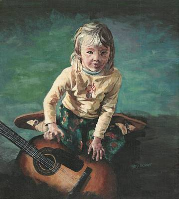 Art Print featuring the painting Little Girl With Guitar by Joy Nichols