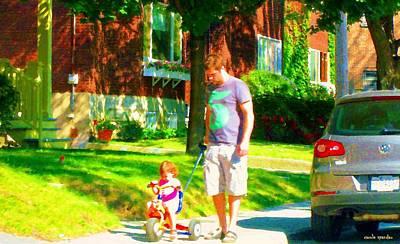 Montreal Street Life Painting - Little Girls First Bike Lesson With Dad Beautiful Tree Lined Street Summer Scene Carole Spandau  by Carole Spandau