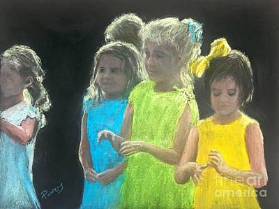 Art Print featuring the painting Little Girls by Mary Lynne Powers