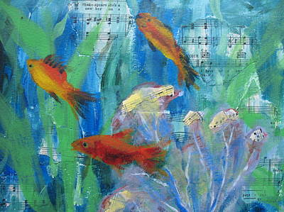 Underwater View Mixed Media - Little Gold Fish by Jeannine Clesie