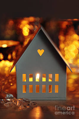 Little Cabin Photograph - Little Gray House Lit With Candle For The Holidays by Sandra Cunningham