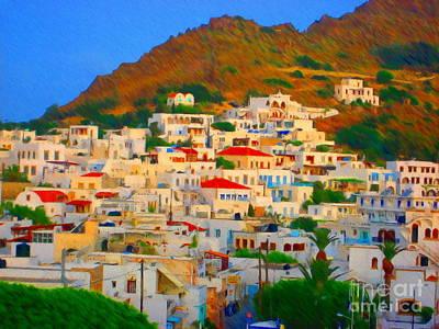 Port Town Mixed Media - Little Greek Town by John Kreiter