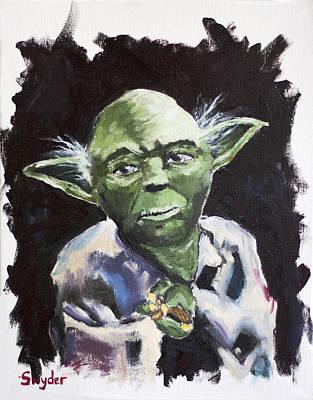 Badass Painting - Little Green Friend by Matthew  Snyder