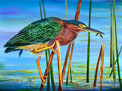 Painting - Little Green Heron by AnnaJo Vahle