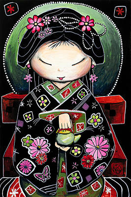 Japanese Geisha Girls Painting - Little Green Teapot by Karin Taylor