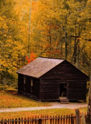 Little Cabin Photograph - Little Greenbrier Schoolhouse In Autumn  by Dan Sproul