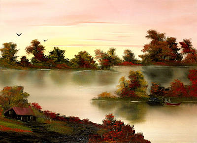 Cynthia-adams-uk Painting - Little Haven In Autumns Glow by Cynthia Adams