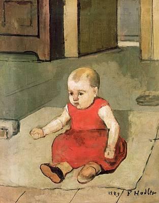 Children Sitting Painting - Little Hector On The Floor, 1889 by Ferdinand Hodler