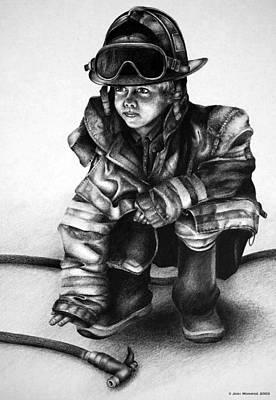 Fire Truck Drawing - Little Hero by Jodi Monroe