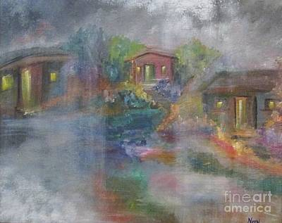 Art Print featuring the painting Little Houses On A Rainy Night  by Nereida Rodriguez