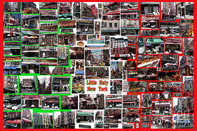 Print featuring the digital art Little Italy Photo Collage by Steven Spak