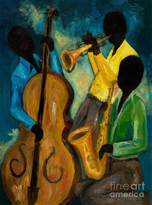 Jazz Painting Royalty Free Images - Little Jazz Trio III Royalty-Free Image by Larry Martin