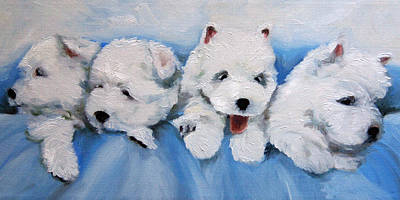 Westie Pup Painting - Little Litter by Mary Sparrow