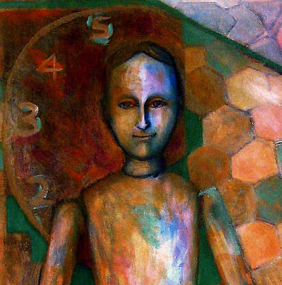 Painting - Little Man With Clock by Nancy Wait