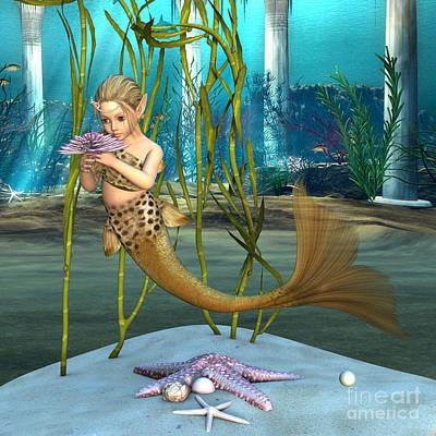 Little Mermaid Holding Anemone Flower Art Print