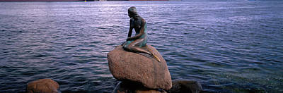 Statuary Photograph - Little Mermaid Statue On Waterfront by Panoramic Images