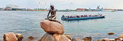 Little Mermaid Photograph - Little Mermaid Statue With Tourboat by Panoramic Images