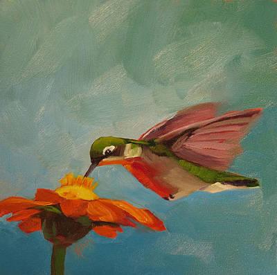 Zinnia Painting - Little Nipper by Kari Melen