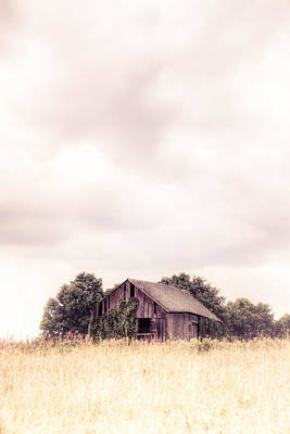 Print featuring the photograph Little Old Barn In The Field - Ontario County New York State by Gary Heller