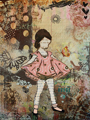 Girls Mixed Media - Little One Mixed Media Folk Art Of Whimsical Little Girl by Janelle Nichol
