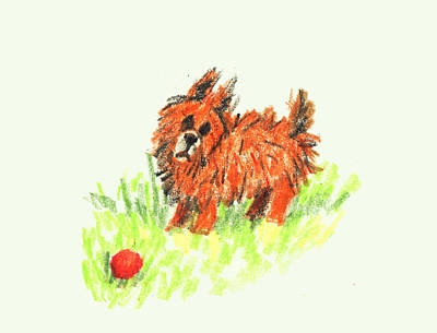 Puppies Mixed Media - Little Orange Dog by Ellsbeth Page