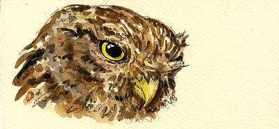 Nocturnal Painting - Little Owl by Juan  Bosco