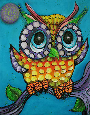 Branch Painting - Little Owl by Laura Barbosa