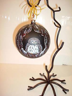 Glass Art - Little Owl Ornament by Jennifer Lake