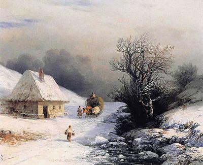 Snow Scene Landscape Digital Art - Little Oxcart by Ivan Constantinovich Aivazovsky