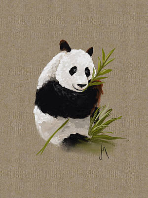 Bamboo Painting - Little Panda by Veronica Minozzi
