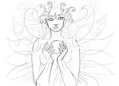 Little Piece Of The Universe Sketch Art Print by Coriander  Shea