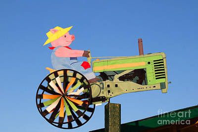 Digital Art - Little Pig On A Tractor Weather Vane by Eva Kaufman